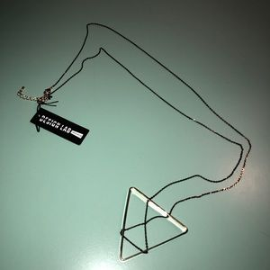 """DesignLab long gold """"X"""" triangle necklace NWT"""